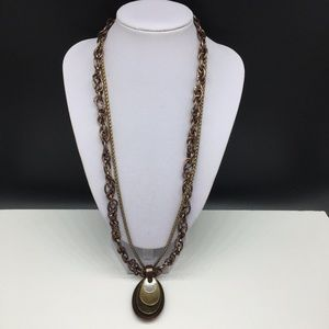 Chico's Mixed Metal Stacked Pendant Necklace